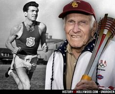Louis Zamperini runs for USC in the late 1930s and with the Olympic torch in Nagano, 1998. He is portrayed by Jack O'Connell in the Unbroken movie. See 'Unbroken: History vs. Hollywood' - http://www.historyvshollywood.com/reelfaces/unbroken/