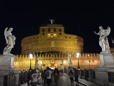 Take a walk on the Ponte di Castel sant'Angelo. A perfect spot to view some of Bernini's beautifully carved statues and the Castle of Saint Angelo as they are lit perfectly.