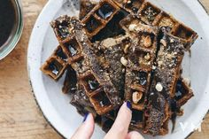 Vegan Waffle Recipes - Vegan Black Sesame Waffles Unusual and delicious nutty flavor makes them excellent for lunch or dinner as well as breakfast.