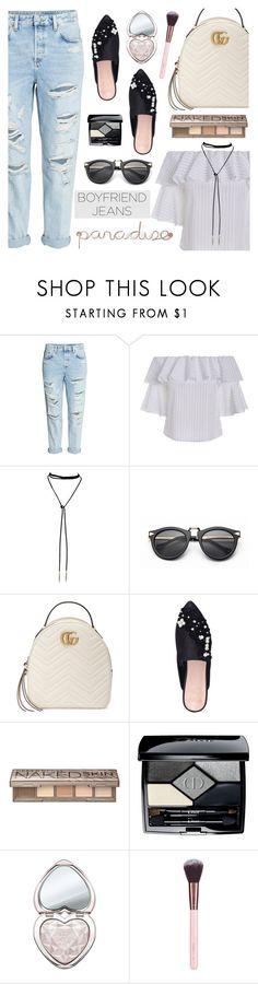 """Borrowed from the Boys: Boyfriend Jeans"" by dora04 ❤ liked on Polyvore featuring H&M, Gucci, KG Kurt Geiger, Urban Decay, Christian Dior, Too Faced Cosmetics, Luxie, Umbra, boyfriendjeans and rosegal"