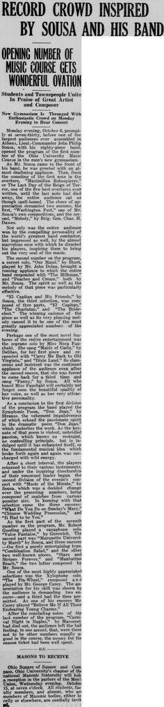 """Green and white (Athens, Ohio) October 10, 1924. """"Record crowd inspired by sousa and his band."""" :: Ohio University Archives"""