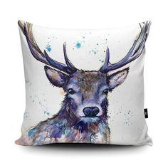 Watercolour Splatter Hart Cushion at Estuary Co.