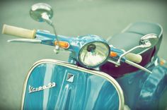 Italian Vespa in Turquoise - Scooters motocycle old courtyard spring summer ride blue for him dad home decor color photography nursery art via Etsy