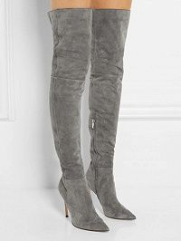 Gray Suedette Split Back Heeled Over the Knee Boots