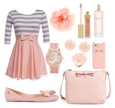 Peachy Keen. by kareen2602 on Polyvore featuring polyvore, fashion, style, Melissa, Kate Spade, Aéropostale, Dettagli, claire's, AERIN and Victoria's Secret