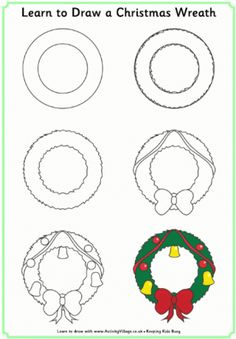 Learn to Draw Christmas Pictures Drawing Tutorials For Kids, Art Drawings For Kids, Doodle Drawings, Drawing For Kids, Doodle Art, Easy Drawings, Art For Kids, Christmas Doodles, Christmas Drawing