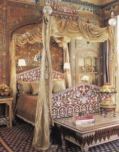 Guest room in Ann Getty's San Francisco home.