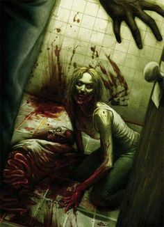Zombie in the Bathroom Zombie Kunst, Zombie Art, Zombie Life, Horror Art, Horror Movies, Horror Pics, Horror Pictures, Apocalypse, Zombie Attack