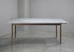 "Bethan Grey, Lapicida: ""New Brogue Table Collection"", dining table, Carrara marble."