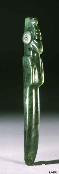 Costa Rica Nicoya jade height 16.3 cm. Celt. Bird ax with representation of harpy eagle