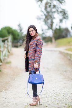 Multicolor coat abrigo jaspeado lana bolso El Potro handbag zapatos acordonados de tacón Topshop shoes heels Crimenes de la Moda blog