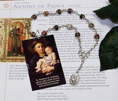 Unbreakable Catholic Relic Chaplet of St. Anthony of Padua - Patron Saint of Lost Items, Infertile Couples, Native Americans and Animals by foodforthesoul on Etsy