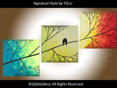 """Abstract Landscape Original Impasto Tree painting """"Love Birds and Sunset Forest"""""""