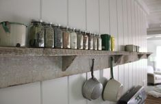 Rehab Diary: Miracle in the Catskills by Jersey Ice Cream Co. - Remodelista Kitchen Shelves, Wood Shelves, Display Shelves, Shelving, Cupboards, Cabinets, Old Stone Houses, Cabin Kitchens, White Kitchens