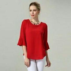 Plus Size Blouses Women Clothing Loose Chiffon Blouse Korean Fashion Blusa  Feminina Summer Tops Solid Color Black Red M - 47f5cb87855e