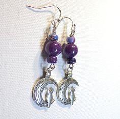 Jewelry Earrings Purple Mt. Jade Gemstone by SpiritCatDesigns, $7.00