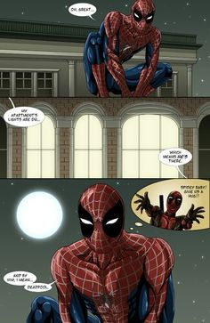 """Page 1 of my #Spideypool comic, """"Never Say Never"""" cuz I ♥ #Spiderman and #Deadpool"""