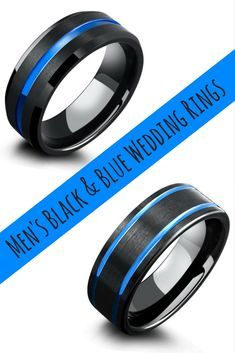 Mens modern black tungsten wedding rings with a hint of blue. I love these unique mens wedding rings.