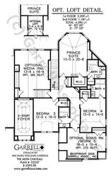 Mon Chateau House Plan 03257, 2nd Floor Plan, French Style House Plans, Master Down House Plans