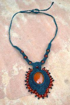 Fire Opal Macrame Necklace by Maria Carolina Iribarren