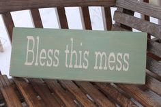 Wood Sign Bless This Mess Bathroom Kitchen Mud by PreciousMiracles, $15.99