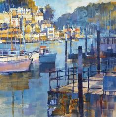 You'll find a superb collection of original paintings and limited editions from Chris Forsey at Dart Gallery in Dartmouth, Devon. You can buy online too. Watercolor Landscape, Landscape Art, Landscape Paintings, Dartmouth Devon, Evening Sun, South Devon, Bedroom Wall, Acrylics, Boats