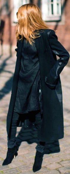 Black Long Coat, Black Long Sweater, Black denim, Black Boots | Maja Wyh