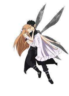 Kirito and Asuna-Alfheim Online Kirito Asuna, Sao Anime, Anime Manga, Online Anime, Online Art, Tous Les Anime, Good Anime Series, Sword Art Online Kirito, Kaichou Wa Maid Sama