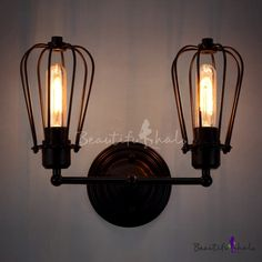 Rustic Two Upward Lighted LED Wall Sconce in Cage Style, Fashion Style Industrial Lighting Bathroom Wall Lights, Led Wall Sconce, Candle Sconces, Wall Sconces, Industrial Light Fixtures, Industrial Lighting, Cheap Wall Lights, Loft Lighting, Vintage Industrial