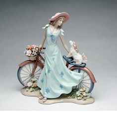 Fine Porcelain Figurine - Riding Bike with My Best Friend, Bike, Lady, Dog Porcelain Dolls For Sale, Porcelain Dolls Value, Porcelain Jewelry, Fine Porcelain, Porcelain Ceramics, Painted Porcelain, Porcelain Tiles, Hand Painted, Ceramic Animals