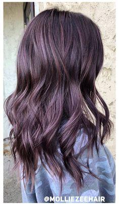 Lavender Hair Colors, Brown Hair Colors, Purple Brown Hair, Purple Hair Highlights, Color Highlights, Hair Color For Tan Skin Tone, Subtle Purple Hair, Magenta Hair, Blonde Streaks