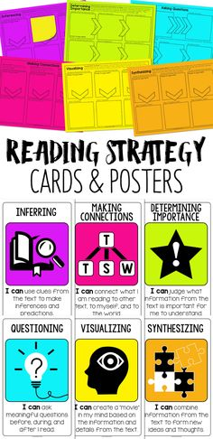 Visualizing, Inferring, Synthesizing, Determining Importance, Making Connections, Questioning. A strategy card for each! Based on my all-time favorite professional development books, Strategies that Work! Comprehension Strategies, Teaching Strategies, Reading Comprehension, Teaching Ideas, Cafe Strategies, Thinking Strategies, Third Grade Reading, Guided Reading, Teaching Reading
