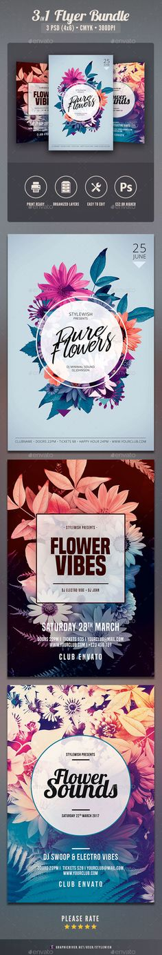 Hipster Flowers Flyer Template PSD Bundle