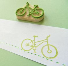 Cycler's Bicycle - Hand Carved Rubber Stamp. $12.00, via Etsy.