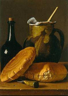 Nature morte aux pains, bouteille et jarre, Luis Melendez, 1770