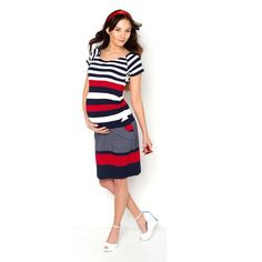 Viva la Mama | Nursing dress HANSA (navy/white/red). This dress in marine look  is a must-have for your upcoming spring/summer pregnancy wardrobe! HANSA is also ideal for discreet breastfeeding as well as after the nursing period. The dress is a wonderful gift for Valentine's Day, birth or baby shower!