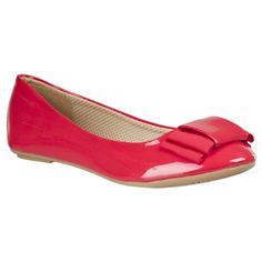 Riverberry Women's 'sami' Bow-Detail Ballet Flats ($20) ❤ liked on Polyvore featuring shoes, flats, red, red flats, bow flats, ballet shoes, leather flats and red bow flats