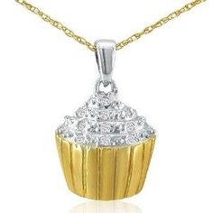 14k Gold Over Sterling Silver Diamond Cupcake Necklace On An 18 Chain