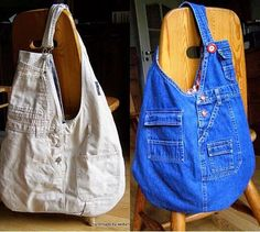 Fashion and Sewing Tips: the bib jean bag Jean Purses, Denim Handbags, Denim Purse, Denim Ideas, Denim Crafts, Recycled Denim, Handmade Bags, Diy Clothes, Diy Fashion