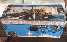 Spectacular Early Blue Wallpaper Box New York March 1862 | eBay