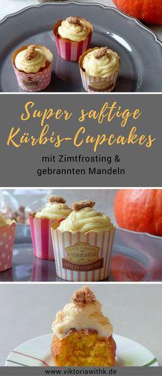 Kürbis-Rezept gesucht? Hier kommen die saftigsten Cupcakes, die ihr je probiert habt. Kürbis macht den Teig unglaublich fluffig. Mit Zimtfrosting und einer gebrannten Mandeln ein absoluter Traum.