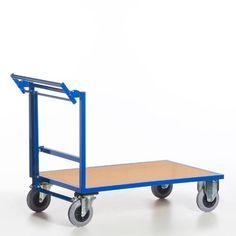 GTARDO.DE:  Schiebebügelwagen mit Totmannbremse, Tragkraft 600 kg, Ladefläche 1000x700 mm, Maße 1260x700 mm, Rad-Ø 200 mm 339,00 €