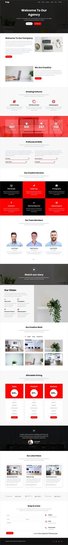 Pulp is clean and modern #parallax design responsive #bootstrap #template for onepage #agency website to live preview & download click on image or Visit