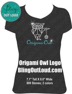 Cute Owl Logo Rhinestone Shirt  Origami Owl by BlingOutLoud, $28.00