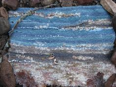 Seascape - knitted using different wools and fabrics