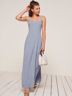 Try not to forget about all your other dresses. This is an ankle length dress with a slight v neckline, fitted bodice and easy fitting skirt.