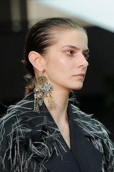 Slicked hair and dewey skin at Celine Fall 2014  - Runway Beauty at Paris Fashion Week #PFW