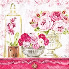 4 x Single Paper Napkins Decoupage Crafting Table Floral Street 127