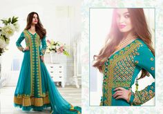 Designer Replica Stylish Long Suit With Eye-catchy Pattern And Royale Grace In Blue PRG5500