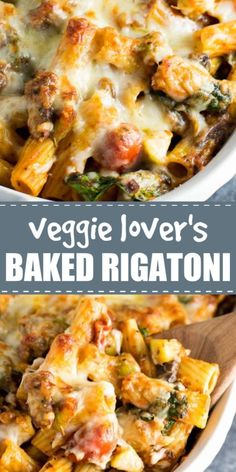 Making this for dinner! This veggie lovers baked rigatoni is packed full of cherry tomatoes onions garlic mushrooms bell peppers zucchini and spinach. A hearty and delicious vegetarian dinner! Tasty Vegetarian Recipes, Vegetarian Recipes Dinner, Veg Recipes, Vegan Dinners, Healthy Recipes, Vegetarian Pasta Dishes, Dinner Healthy, Pepper Recipes, Easy Vegitarian Dinner Recipes